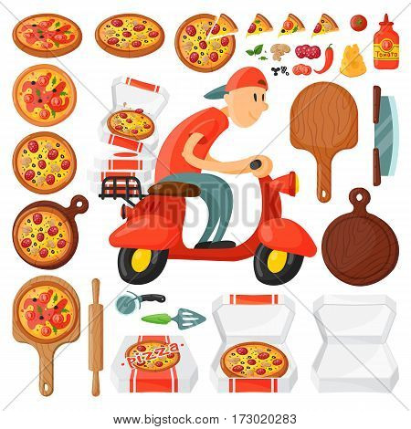 Italian cook pizza delivery boy pizzeria cartoon courier on motorbike and deliver dinner icon food box fast party meal scooter transport vector illustration. Work supreme meal symbols.