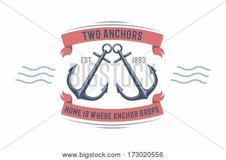 Anchor nautical and sailing themed label or icon with ship anchor insignia template adventure old traditional ribbons. Travel element graphic emblem with ship sign vector illustration.