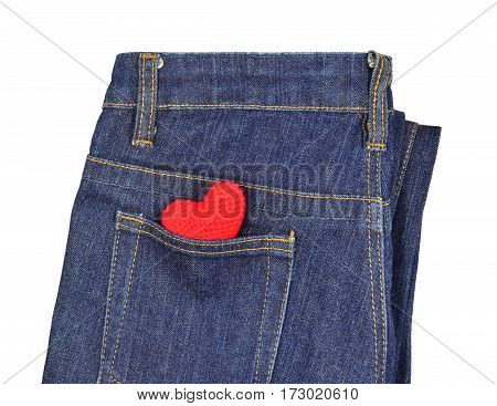 Blue jeans back pocket with red crochet heart - valentine concept