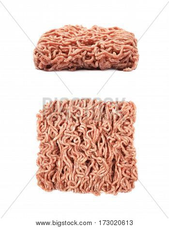 Pack of a ground minced beef meat isolated over the white background, set of two different foreshortenings