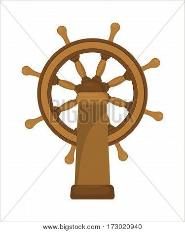 The ships wheel boats wheel ship steering wheel isolated on white background. Vector illustration