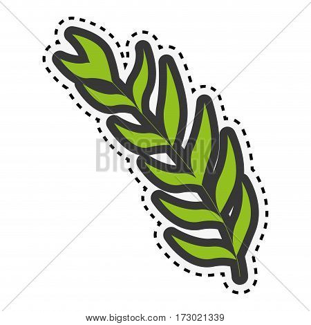 sticker green stem with many oval leaves vector illustration