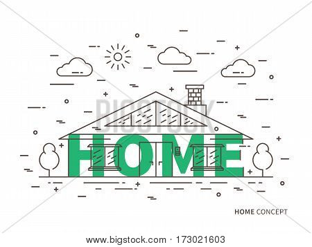 Linear house cottage mansion flat illustration in modern minimal outline style. Graphic design residential house with word House. Real estate house for rent private property contour creative concept.