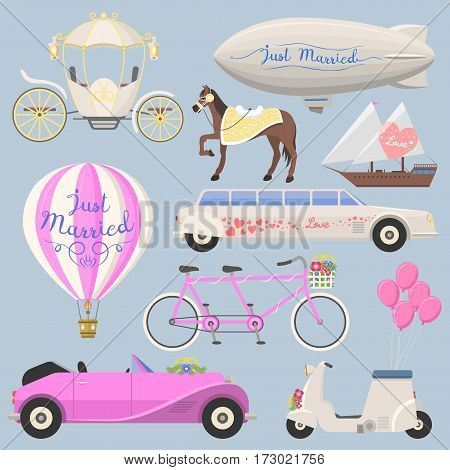 Wedding fashion transportation vector illustration. Traditional auto expensive retro ceremony bride transport. Romantic beauty groom automobile.