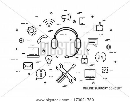 Linear online support online service helpdesk assistance consultant operator flat minimal outline illustration. Graphic design online support center 24 hour hot helpline headphone headset.