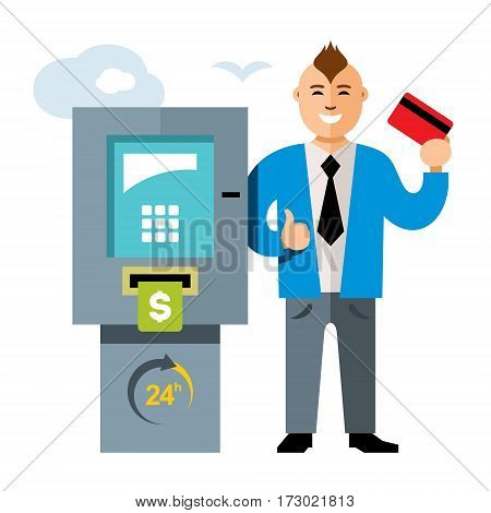 Man dressed in suit gets money from cash machine and he is happy. Isolated on a white background