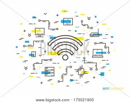 Wifi linear vector illustration. Creative flat concept wifi servers laptop computer tablet phone. Graphic design online free wi-fi.