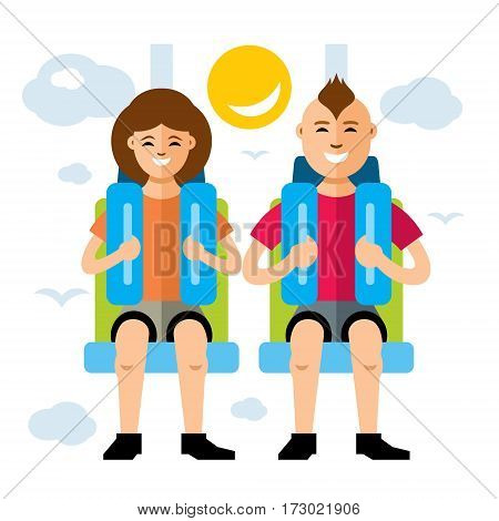 Girl and boy in a safety seat. Isolated on a white background