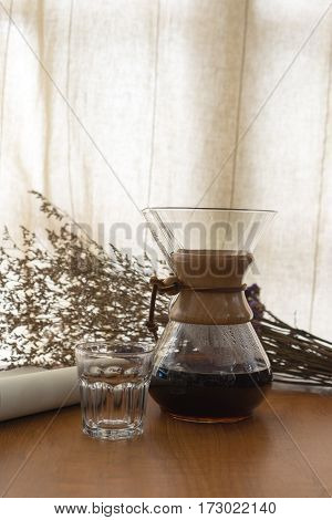 Homemade Manual Brew Coffee at Home in warm tone, Curtain Background