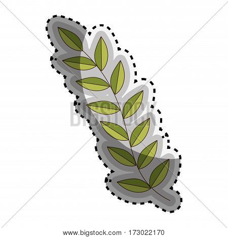 sticker green Silhouette oval leaves with ramifications vector illustration
