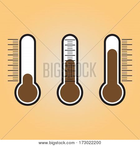 Thermometer vector flat icon. Thermometer vector sign isolated at brown background. Temperature measurement vector illustration.