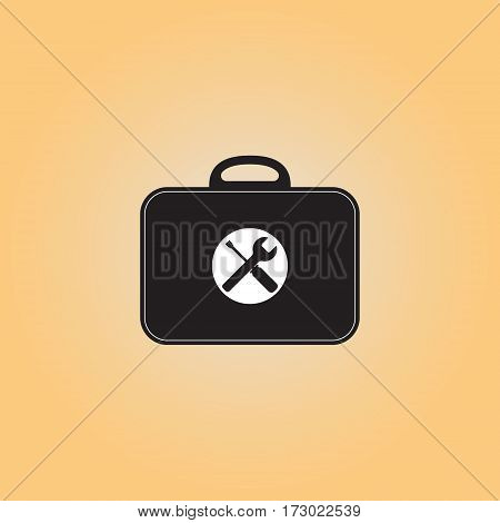 Toolbox flat vector sign. Isolated toolkit vector icon. Illustration of black bag with repair tools. Work tools menu button.