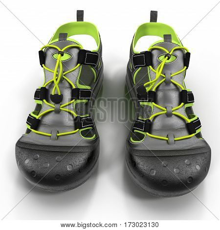 Pair of sport sandals isolated on white background. 3D illustration