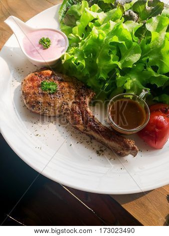 Modern Style Pork Chop With Barbecue Sauce Grilled Vegetables