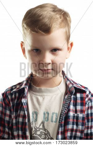 little boy in plaid shirt, isolated on white background, children's fashion, portrait of a young boy closeup