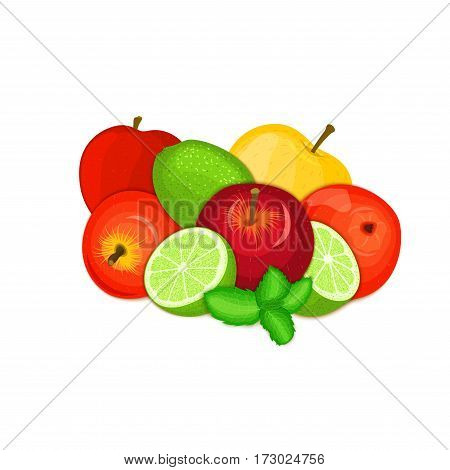 Vector composition of a few apples citrus lime and mint leaves Yellow, red and green apple fruits whole and slice tropical lemon fruit with pepper mint leaf for design of juice breakfast., vegan food