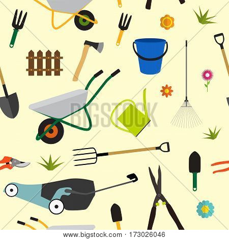 Garden Tools, Instruments Flat Icon Collection Set. Shovel, bucket, rake, secateurs, scissors, wheelbarrow and watering. Seamless Pattern Background. Vector Illustration EPS10