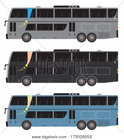 Set Of Double Deck City Bus Vector Isolated