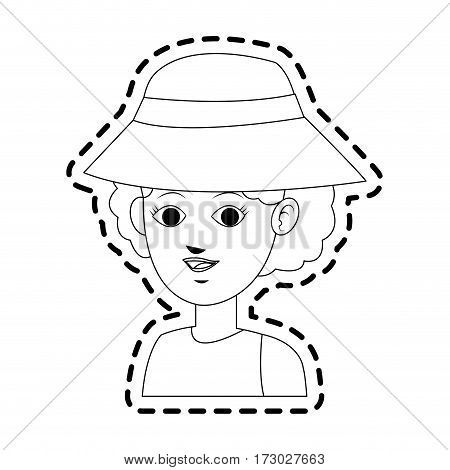 pretty young woman wearing hat icon image vector illustration design