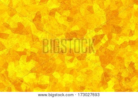 Yellow abstract texture. Mosaic composition. Crystallized structure. Bright sunny background. Autumn concept. Surface with scratches. Polygon shapes and geometric elements. Crumpled vibrant material.