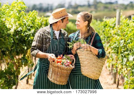 Happy farmer couple holding baskets of vegetables in the vineyard