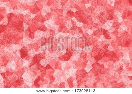 Red abstract texture. Coral background. Mosaic composition. Crystallized structure. Fashion concept. Surface with scratches. Polygon shapes and geometric elements. Crumpled bright material.