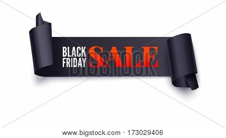 Black Friday Sale banner with curved edges. Black friday sale banner on white background. Symbol of sales, Black Friday. Promotional poster for your business offers, flyers and discount banner