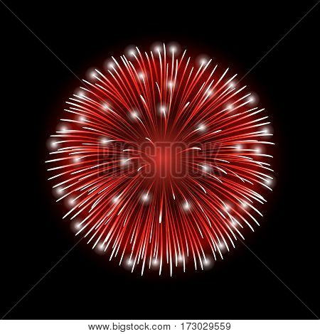 Firework red bursting isolated background. Beautiful night fire explosion decoration holiday Christmas New Year birthday. Symbol festival American 4th july celebration. Vector illustration
