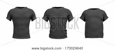 3d rendering of a black T-shirt in realistic slim, muscular and fat shape in front view on white background. Closes and apparel. Sales and promotions. Getting fit.