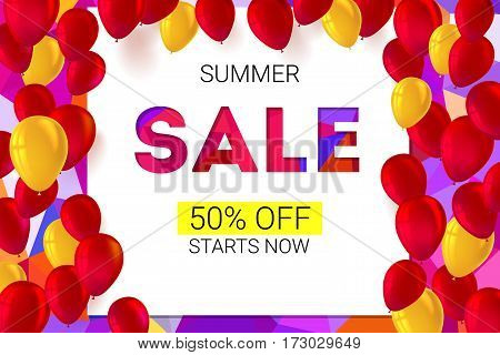 Sale banner on low poly background with inflatable balloons and typography for luxury sales offers. Modern, colorful design with red and yellow inflatable balloons. Vector illustration, eps 10