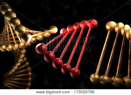 The DNA molecule with defective gene 3d render