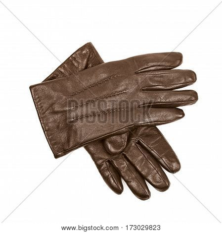 Pair of brown leather gloves isolated over the white background