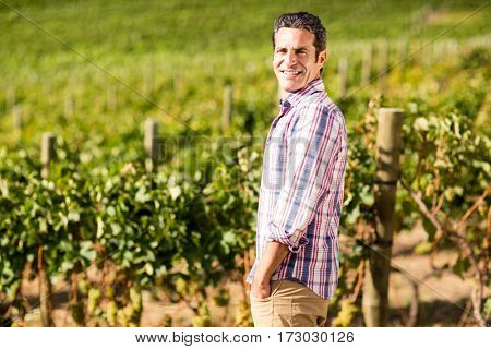 Portrait of male vintner standing with hands in pockets in vineyard