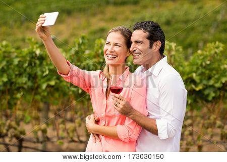 Happy couple taking a selfie in vineyard