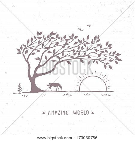 Beautiful nature with amazing silhouette tree and horse. Vector illustration