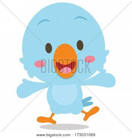 Happy blue bird cartoon illustration collection stock