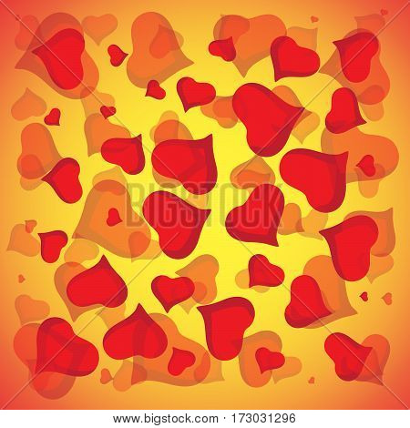 Abstract vector love background full of hearts. Valentines day frame for card with copyspace.