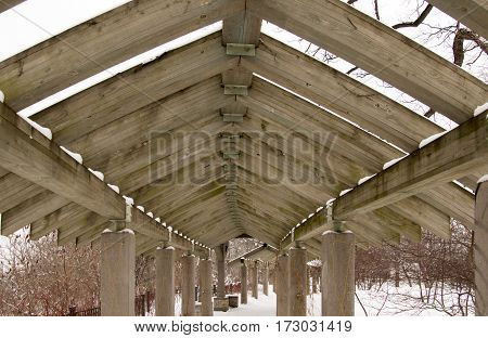 A structure built over a walkway in Minneapolis Minnesota.