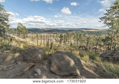 A beautiful view of the Wyoming landscape as viewed from Devils Tower National Park.