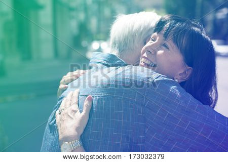 Photo Gradient Style with Senior couple love sweet embrace