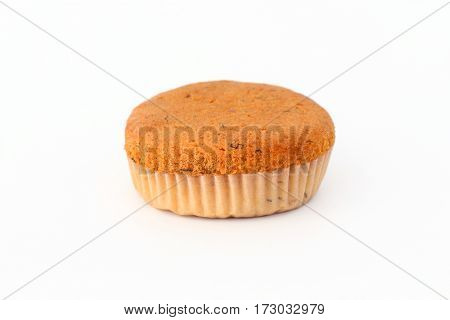 Banana cake on a white background looked very unappetizing.