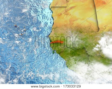 Gambia On Map With Clouds