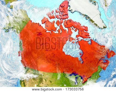Canada On Map With Clouds