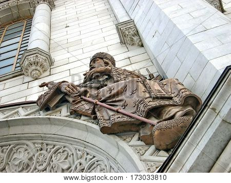 Moscow, Russia - August 28, 2016: The bas-relief on the wall of the eastern facade Cathedral of Christ the Savior. Orthodox architecture Russian. Summer, Moscow, Russia