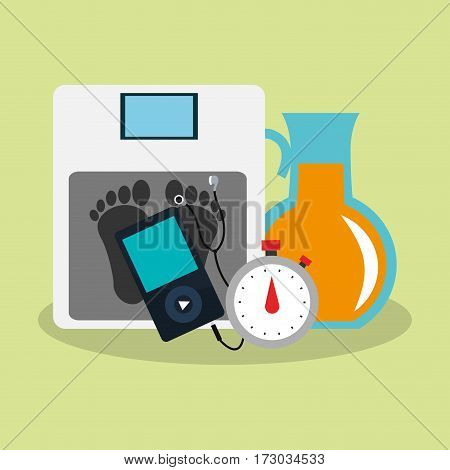 orange juice jug and health and fitness related icons image vector illustration design