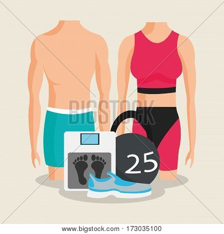 kettlebell with man and woman health and fitness related icons image vector illustration design