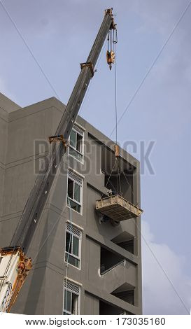 Crane truct move object in construction site