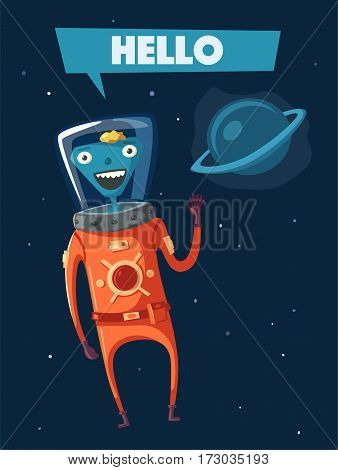 Friendly alien. Cartoon vector illustration. Ufo. Retro poster. Space theme. Funny monsters mutant character