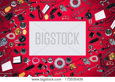 Spare auto parts car on the red background set. Frame for advertising and assembled from auto parts, spare parts. Many repair part are located on the edge of the image. OEM.