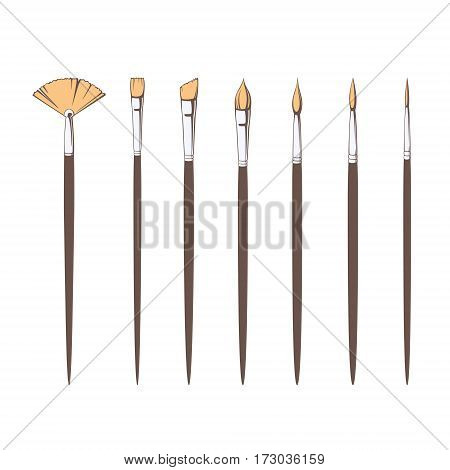 Set of seven vector different paint brushes